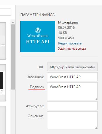 Как сделать подпись на в wordpress