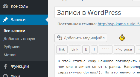 Записи в WordPress
